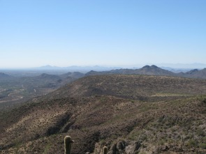 Camelback Mountain in distance from saddle of Elephant Mountain Cave Creek by Gary Fillmore