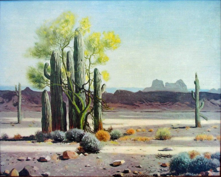 Swinnerton Saguaros and Palo Verdes in Bloom unframed