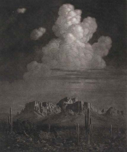 George Elbert Burr Apache Trail at Night 12x10 etching