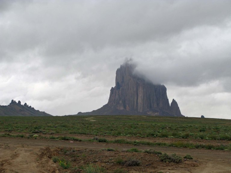 Shiprock obscured by Clouds by Gary Fillmore