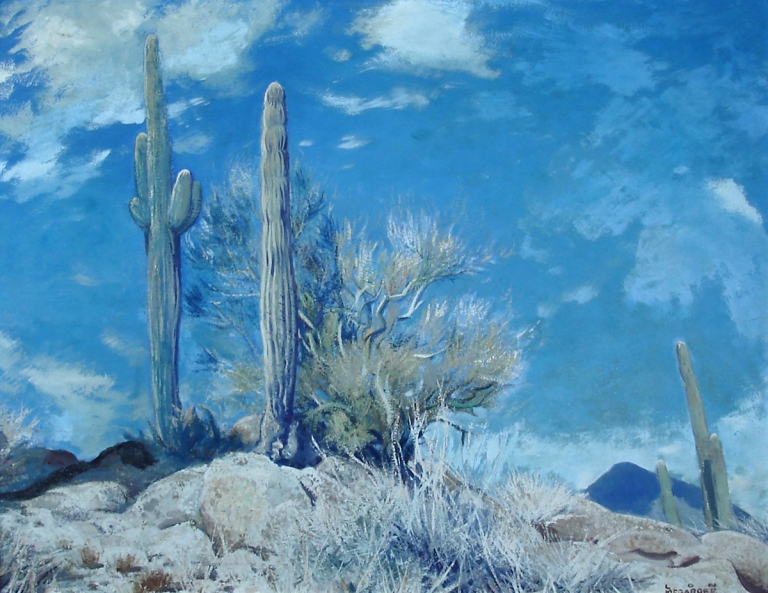 Lon Megargee Cave Creek 24x30 Oil on canvas Circa 1945