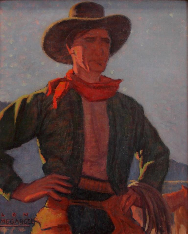 Lon Megargee Cowboy 10x13 Oil on canvas Circa 1920