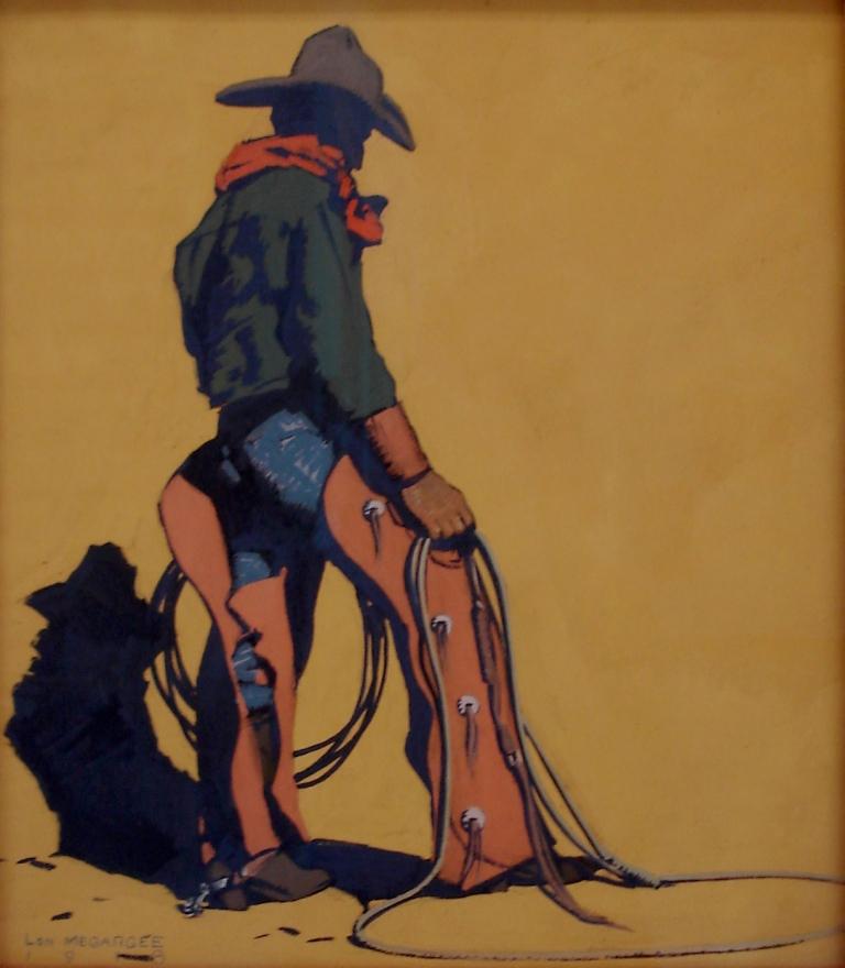 Lon Megargee The Texan 17x15 gouache on paper circa 1918