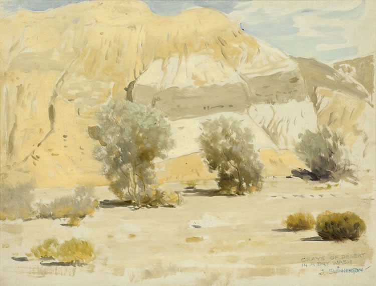 James Swinnerton Grays of Desert in a Dry Wash field sketch 12x16