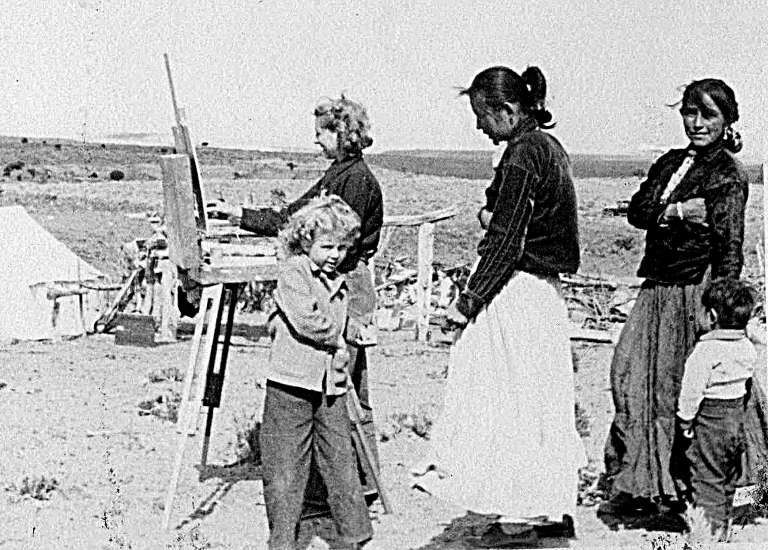 Marjorie Reed painting near Black Mesa Circa 1946